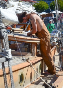 Wooden boat building and repair can be very satisfying work. Here a schooner is being worked on at the Victoria Classic Boat Festival.