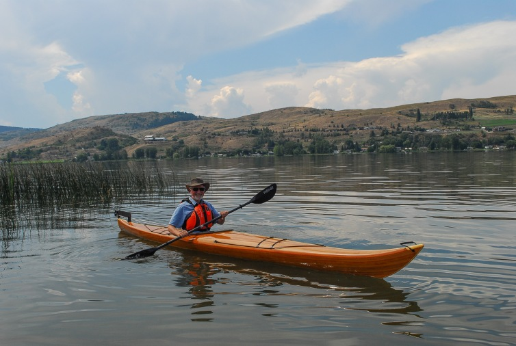The author's freshly finished kayak on Swan Lake, Vernon, BC.